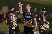 Firebirds Jimmy Neesham and Firebirds Ollie Newton celebrate the dismissal of Knights captain Dean Brownlie for 99 during the T20 Super Smash cricket game, Northern Knights v Wellington Firebirds played at Seddon Park, Hamilton, New Zealand on Saturday 22 December 2018.<br /> <br /> Copyright photo: &copy; Bruce Lim / www.photosport.nz