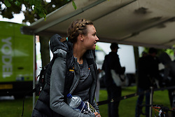 Chantal Blaak arrives for a wet start to the race in Chesterfield - Stage 4 of the OVO Energy Women's Tour - a 123 km road race, starting and finishing in Chesterfield on June 10, 2017, in Derbyshire, United Kingdom. (Photo by Sean Robinson/Velofocus.com)