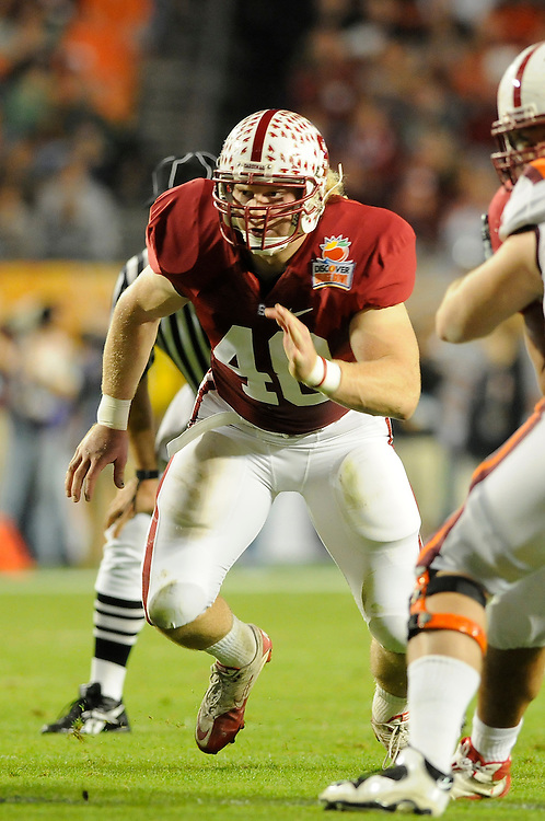 January 3, 2011: Owen Marecic of the Stanford Cardinal in action during the NCAA football game between the Stanford Cardinal and the Virginia Tech Hokies at the 2011 Orange Bowl in Miami Gardens, Florida. Stanford defeated Virginia Tech 40-12.