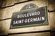 Boulevard Saint-Germain street sign, Paris, France
