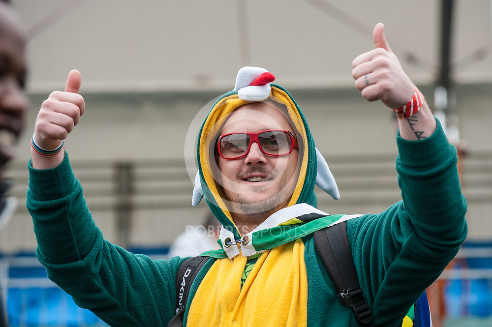 South African fan at the IRB Emirates Airline Glasgow 7s at Scotstoun in Glasgow. 3 May 2014. (c) Paul J Roberts / Sportpix.org.uk