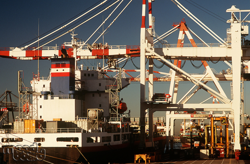 Containership in dock