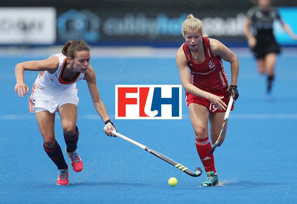 LONDON, ENGLAND - JUNE 19: Margot van Geffen of Netherlands and Sophie Bray of Great Britain during the FIH Women's Hockey Champions Trophy match between Netherlands and Great Britain at Queen Elizabeth Olympic Park on June 19, 2016 in London, England.  (Photo by Alex Morton/Getty Images)