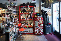 ROME, ITALY - 7 January 2014: The interior of Sister Ray, a store opened in 2011 that sells skater-ish t-shirts, sneakers, and paraphernalia, in the Pigneto neighborhood of Rome, Italy, on February 7th 2014.