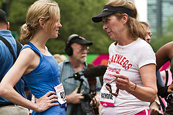 NYRR Mini 10K road race (40th year); Katerine Switzer, Mary Wittenberg