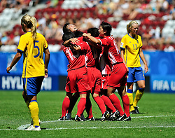 20.07.2010, , Augsburg, GER, FIFA U-20 Frauen Worldcup, Korea DPR vs Schweden, im Bild Korea jubelt, EXPA Pictures © 2010, PhotoCredit: EXPA/ nph/  Roth+++++ ATTENTION - OUT OF GER +++++ / SPORTIDA PHOTO AGENCY