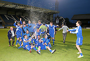 St James celebrate with the cup - St James (blue) v NCR (white) North of Tay Cup (sponsored by Evening Telegraph) Cup Final at Dens Park <br /> <br />  - &copy; David Young - www.davidyoungphoto.co.uk - email: davidyoungphoto@gmail.com