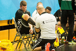 Dimitrij Kuttel of Kadetten Schaffhausen injury during handball match between RK Gorenje Velenje and Kadetten Schaffhausen in VELUX EHF Champions League, on November 25, 2017 in Rdeca Dvorana, Velenje, Slovenia. Photo by Ziga Zupan / Sportida