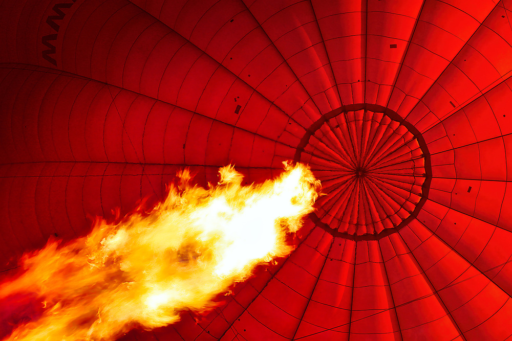A Burning Red Balloon - This was the view as our balloon was inflated for our flight across the Valley of the Kings and into the barren Saharan desert.