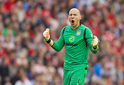 13.09.2014, Anfield, Liverpool, ENG, Premier League, FC Liverpool vs Aston Villa, 4. Runde, im Bild Aston Villa's goalkeeper Brad Guzan celebrates the first goal against Liverpool // during the English Premier League 4th round match between Liverpool FC and Aston Villa at the Anfield in Liverpool, Great Britain on 2014/09/13. EXPA Pictures &copy; 2014, PhotoCredit: EXPA/ Propagandaphoto/ David Rawcliffe<br /> <br /> *****ATTENTION - OUT of ENG, GBR*****