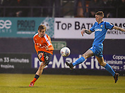 Luton Town player Olly Lee has a shot on goal in the second half during the EFL Sky Bet League 2 match between Luton Town and Barnet at Kenilworth Road, Luton, England on 24 March 2018. Picture by Ian  Muir.
