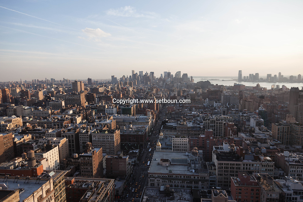 New York elevated view, cityscape of Manhattan Hudson river New Jersey and lower Manhattan