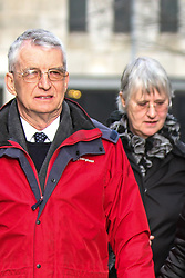 © Licensed to London News Pictures . FILE PHOTO DATED 14 January 2013 . Manchester , UK . MICHAEL BREWER (left) former musical director of Chetham's School , and his ex-wife HILARY BREWER (right) , pictured outside Manchester Crown Court . Michael Brewer has been handed a six year sentence for sexually abusing a former pupil and Hilary Brewer has been jailed for 21 months for indecent assault today (26th March) . Photo credit : Joel Goodman/LNP