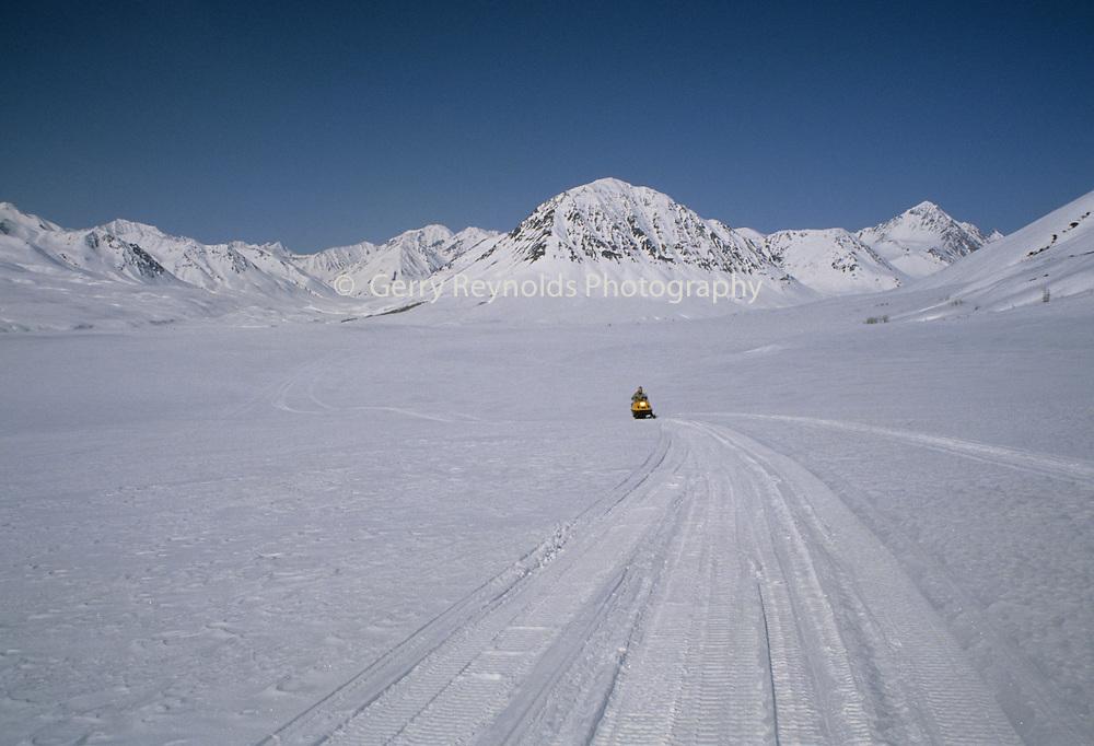Snowmobiling, Snowmobile, Alaska Range, Winter, Denali, Denali National Park, Alaska