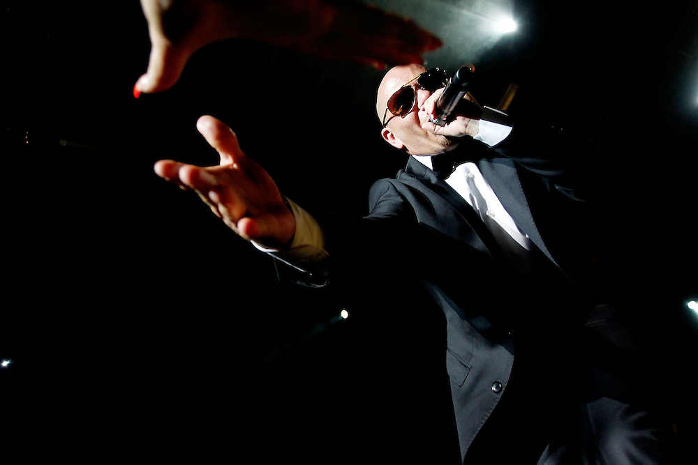 NEW YORK - JUNE 24:  Rapper Pitbull  performs in concert at Nokia Theatre on June 24, 2010 in New York City.  (Photo by Joe Kohen/WireImage for New York Post) *** Local Caption *** Pitbull