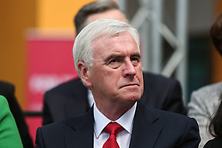© Licensed to London News Pictures. 16/05/2017. Bradford, UK. Shadow Chancellor John McDonnell watches on as Labour leader Jeremy Corbyn launches the Labour Party's 2017 general election manifesto at an event at Bradford University in West Yorkshire. Photo credit : Ian Hinchliffe/LNP