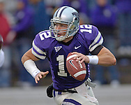 Kansas State quarterback Allan Evridge (12) rolls out of the pocket against Texas A&M in the third quarter at KSU Stadium in Manhattan, Kansas, October 22, 2005.  Texas A&M beat Kansas State 30-28.
