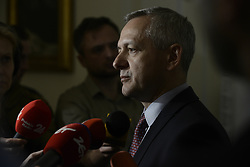 April 17, 2018 - Warsaw, Poland - The new minister of digitization, Marek Zagorski is seen speaking to journalists after his installment at the Presidential Palace in Warsaw, Poland on April 17, 2018. (Credit Image: © Jaap Arriens/NurPhoto via ZUMA Press)