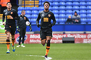 HUll City Forward, Chuba Akpom warms up during the Sky Bet Championship match between Bolton Wanderers and Hull City at the Macron Stadium, Bolton, England on 30 April 2016. Photo by Mark Pollitt.