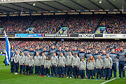 The Scotland team before the Guinness Six Nations match between Scotland and Wales at BT Murrayfield Stadium, Edinburgh, Scotland on 9 March 2019.