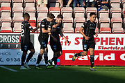 2nd Aug 2019, East End Park, Dunfermline, Fife, Scotland, Scottish Championship football, Dunfermline Athletic versus Dundee;  Ryan Dow of Dunfermline Athletic is congratulated after scoring for 1-0 in the 13th minute by Kevin Nisbet