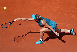 June 7, 2018 - Paris, France - SIMONA HALEP of Romania plays against Muguruza of Venezuela during their semi final match of the French Tennis Open 2018 at Roland Garros.  Halep won 6-1, 6-4. (Credit Image: © Maya Vidon-White via ZUMA Wire)