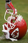 KANSAS CITY, MO - SEPTEMBER 10:  Helmet and gloved hand of a Kansas City Chiefs player during a game against the Cincinnati Bengals on September 10, 2006 at Arrowhead Stadium in Kansas City, Missouri.  The Bengals won 23 to 10.  (Photo by Wesley Hitt/Getty Images)***Local Caption***Kansas City Chiefs