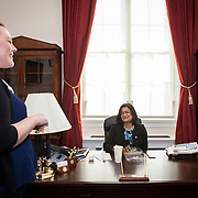 Representative Pramila Jayapal (D-WA, 7) quickly takes lunch in her office while speaking with her congressional office scheduler, Mackenzie Mastrud, on Tuesday, January 31, 2017.  John Boal photo/for The Stranger