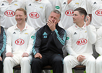 Cricket - 2017 Surrey CCC Press Day - Kia Oval<br /> <br /> Surrey head coach Alec Stewart finds something amusing with Captain Gareth Batty (left) and Rory Burn (right)<br /> <br /> COLORSPORT/ANDREW COWIE
