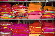 Colourful fabrics for sale in a shop in Jodhpur, Rajasthan, India