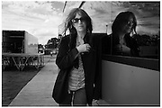 American Singer Patti Smith poses for a portrait by her tour bus at the Hop Farm Fesitval 2012