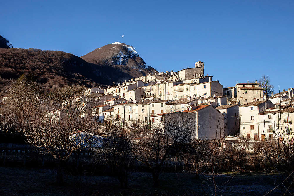 16 February 2017, Civitella Alfedana - A view of Civitella Alfedana a small village inside of the National Park of the Abruzzo, where is present the wildlife area of the Apennine Wolf. A fenced area of about four hectares, where for staging points you can observe wolves in a state of semi-freedom.
