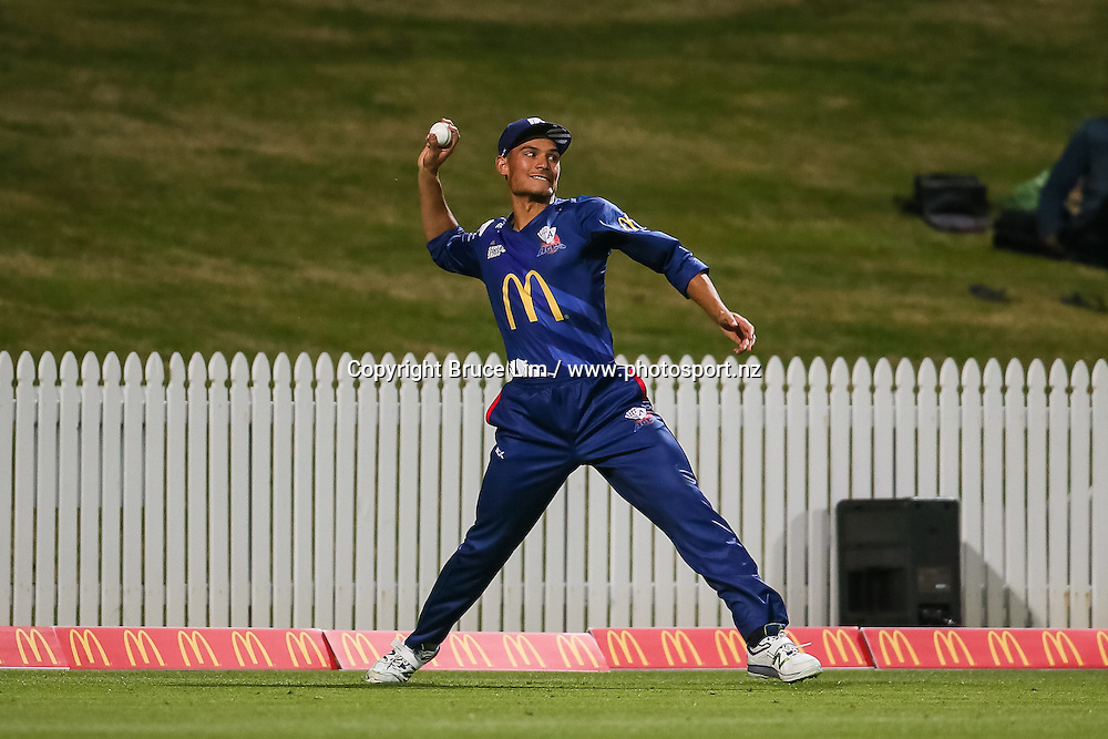 Auckland Aces Sean Solia in the field during the McDonalds Super Smash T20 cricket match - Knights v Aces played at Seddon Park, Hamilton, New Zealand on Saturday 17 December.<br /> <br /> Copyright photo: Bruce Lim / www.photosport.nz