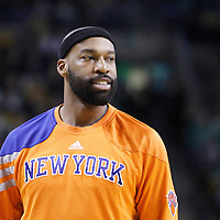 04 March 2012: New York Knicks point guard Baron Davis (85) is seen at halftime during the Boston Celtics 115-111 (OT) victory over the New York Knicks at the TD Garden, Boston, Massachusetts, USA.
