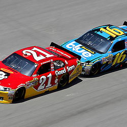 April 17, 2011; Talladega, AL, USA; NASCAR Sprint Cup Series driver Greg Biffle (16) drafts Trevor Bayne (21) during the Aarons 499 at Talladega Superspeedway.   Mandatory Credit: Derick E. Hingle