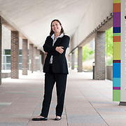 August 20, 2012 - Purchase, NY : Paola Morsiani, the recently appointed director of the Neuberger Museum of Art at SUNY Purchase, poses for a portrait outside the museum's front entrance. CREDIT: Karsten Moran for The New York Times