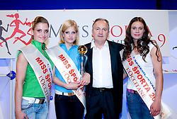 Lorina Smolnikar, Ajda Sitar, Srecko Coz and Amadeja Teraz at event Miss Sports of Slovenia, on April 18, 2009, in Festivalna dvorana, Ljubljana, Slovenia. (Photo by Ales Oblak / Sportida)