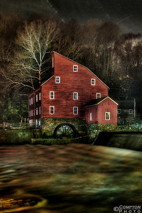 The Red Mill in Clinton,NJ painted with light one a cold winter night