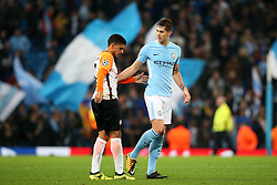 John Stones of Manchester City consoles Taison of Shakhtar Donetsk at full time - Mandatory by-line: Matt McNulty/JMP - 26/09/2017 - FOOTBALL - Etihad Stadium - Manchester, England - Manchester City v Shakhtar Donetsk - UEFA Champions League Group stage - Group F