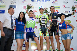 Zoran Jankovic, second placed Grega Bole  (SLO) of Slovenian National Team, Winner Giovanni Visconti (ITA) of ISD - NERI and third placed Jure Kocjan (SLO) of Carmiooro - A Style at ceremony after the 2nd stage of Tour de Slovenie 2009 from Kamnik to Ljubljana, 146 km, on June 19 2009, Slovenia. (Photo by Vid Ponikvar / Sportida)