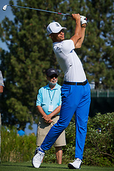 July 15, 2018 - Stateline, Nevada, U.S - Golden State Warriors All-Star guard, STEPHEN CURRY, tees off Sunday morning, July 15, 2018, at the 29th annual American Century Championship at the Edgewood Tahoe Golf Course at Lake Tahoe, Stateline, Nevada. (Credit Image: © Tracy Barbutes via ZUMA Wire)