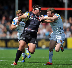 Jamie George of Saracens takes on the Exeter Chiefs defence - Photo mandatory by-line: Patrick Khachfe/JMP - Mobile: 07966 386802 10/05/2015 - SPORT - RUGBY UNION - London - Allianz Park - Saracens v Exeter Chiefs - Aviva Premiership