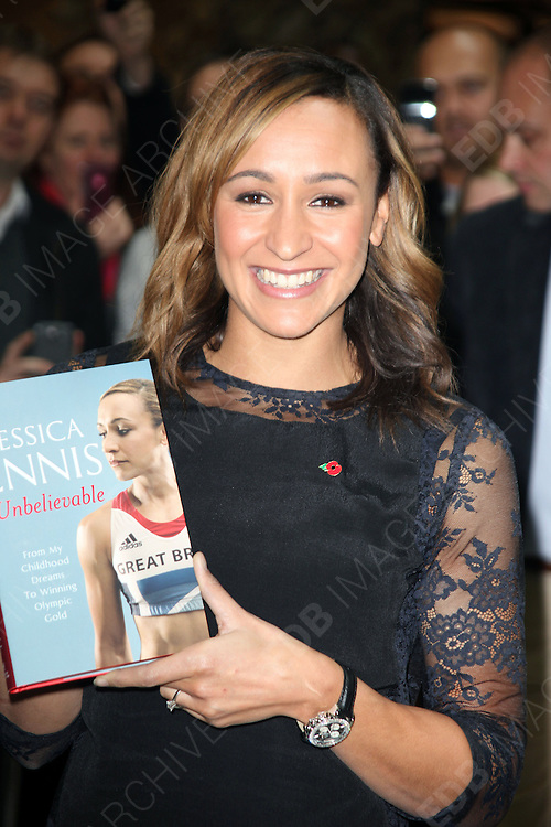 09.NOVEMBER.2012. LONDON<br /> <br /> JESSICA ENNIS SIGNS COPIES OF HER NEW BOOK AT CANARY WHARF, LONDON<br /> <br /> BYLINE: EDBIMAGEARCHIVE.CO.UK<br /> <br /> *THIS IMAGE IS STRICTLY FOR UK NEWSPAPERS AND MAGAZINES ONLY*<br /> *FOR WORLD WIDE SALES AND WEB USE PLEASE CONTACT EDBIMAGEARCHIVE - 0208 954 5968*