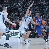 06 October 2010: New York Knicks forward Amare Stoudemire #1 drives past Minnesota Timberwolves forward Lazar Hayward #32 during the Minnesota Timberwolves 106-100 victory over the New York Knicks, during 2010 NBA Europe Live, at the POPB Arena in Paris, France.