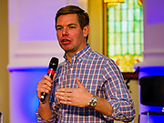 27 APRIL 2019 - STUART, IOWA: US Representative ERIC SWALWELL, a Democratic candidate for the party's nomination for the US Presidency, speaks at the Reaching Rural Voters Forum in Stuart. The forum was an outreach by Democrats in Iowa's 3rd Congressional District to mobilize Democratic voters statewide. Iowa saw one of the largest shifts from Democrats to Republicans in the 2016 Presidential election and Trump won the state by double digits. Republicans control the governor's office and both chambers of the Iowa legislature. Iowa traditionally hosts the the first selection event of the presidential election cycle. The Iowa Caucuses will be on Feb. 3, 2020.                                   PHOTO BY JACK KURTZ