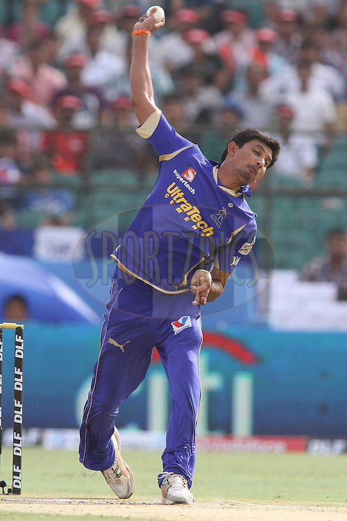 Siddharth Trivedi of the Rajasthan Royals sends down a delivery during match 20 of the the Indian Premier League (IPL) 2012  between The Rajasthan Royals and the Deccan Chargers held at the Sawai Mansingh Stadium in Jaipur on the 17th April 2012..Photo by Shaun Roy/IPL/SPORTZPICS