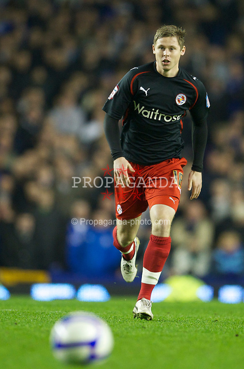 LIVERPOOL, ENGLAND - Tuesday, March 1, 2011: Reading's Simon Church in action against Everton during the FA Cup 5th Round match at Goodison Park. (Photo by David Rawcliffe/Propaganda)