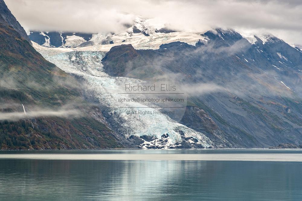 View of Cascade glacier in flowing into Barry Arm in Harriman Fjord, near Whittier, Alaska