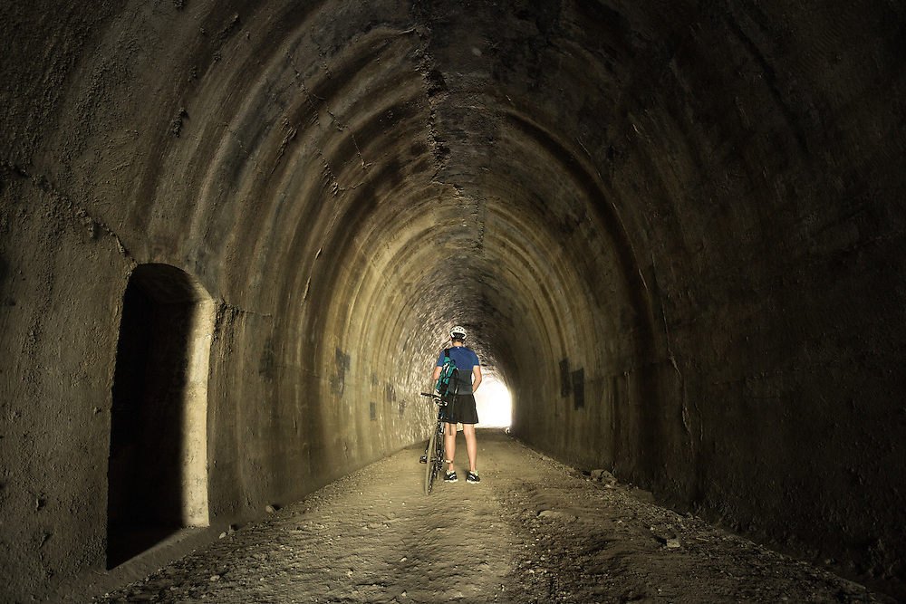 Looking through the 90m plus disused Dularcha Railway Tunnel that was constructed in the 1800's. Located in Dularcha National Park and now used by recreational users on horse, bike or foot.