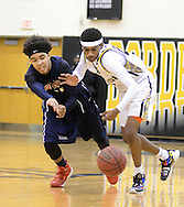 From left, Willingboro's Julius Chamblo and Bordertown's Darnill Brown chase down a loose ball in the second quarter of the Willingboro vs Bordentown Central Jersey Group 3 boys basketball semifinal at Bordertown High School Saturday March 5, 2016 in Bordentown, New Jersey.  (Photo by William Thomas Cain)